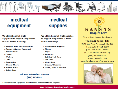 Kansas hospice Care Supplies and Equipment Brochure